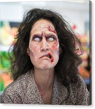 Funny Zombie Grimace Canvas Print by Matthias Hauser