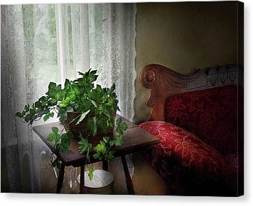 Furniture - Plant - Ivy In A Window  Canvas Print by Mike Savad