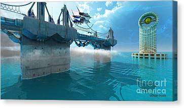 Futuristic Skyway Canvas Print by Corey Ford