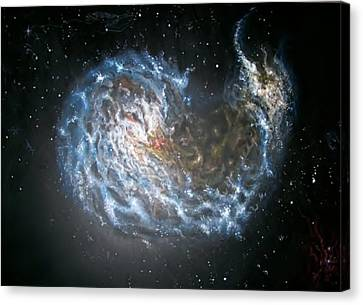 Galaxies Merging. Canvas Print by Giovanni Santostasi