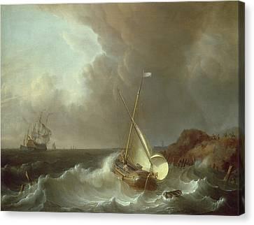 Galleon In Stormy Seas   Canvas Print by Jan Claes Rietschoof