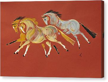 Galop En Rouge Canvas Print by Liz Pizzo