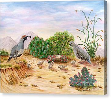 Gambel Quails Day In The Life Canvas Print by Judy Filarecki