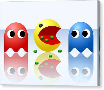 Game Ghost Monsters Pac-man Canvas Print by Miroslav Nemecek