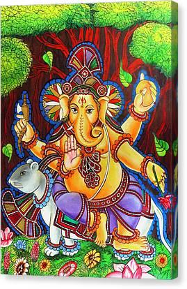 Ganesha Hindu Colored Mural Painting Canvas Print by Arun Sivaprasad