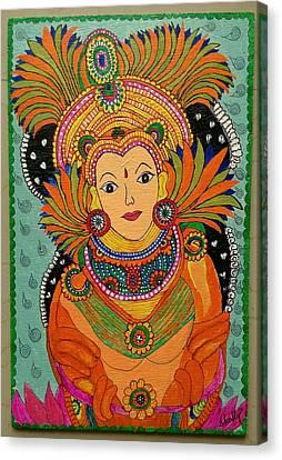 Ganga -kerala Mural Painting Canvas Print by Diana Shalini