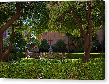 Garden Outside Malagas Cathedral Canvas Print by Panoramic Images