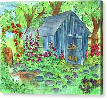 Garden Potting Shed Canvas Print by Cathie Richardson