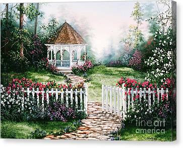 Gazebo Garden Canvas Print by Jean Harrison