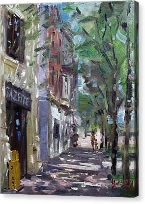 Gazette At 3d And Niagara Streets Canvas Print by Ylli Haruni