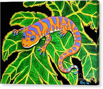 Gecko Hanging On Canvas Print by Nick Gustafson