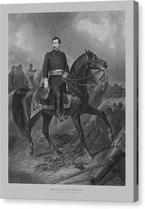 General George Mcclellan On Horseback Canvas Print by War Is Hell Store