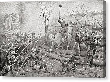 General Grant At The Battle Of Fort Canvas Print by Vintage Design Pics