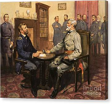 General Grant Meets Robert E Lee  Canvas Print by English School