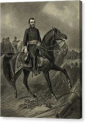 General Grant On Horseback  Canvas Print by War Is Hell Store