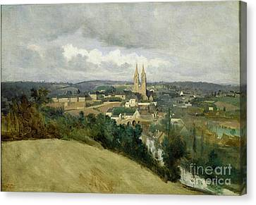 General View Of The Town Of Saint Lo Canvas Print by Jean Corot