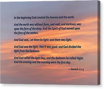 Genesis 1 1-5 In The Beginning Canvas Print by Susan Savad