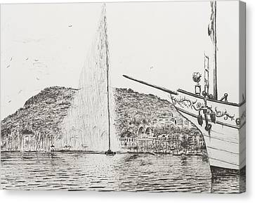 Geneva  Fountain And Bow Of Pleasure Boat Canvas Print by Vincent Alexander Booth