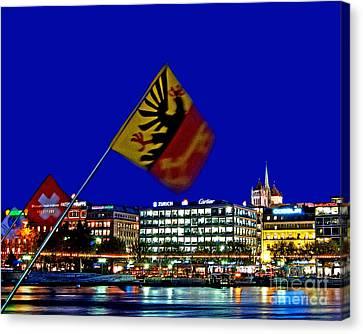 Geneva Switzerland In The Evening Canvas Print by Chris Smith