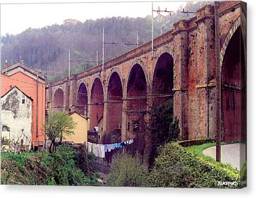 Genoa Railroad Bridge Canvas Print by Al Blackford