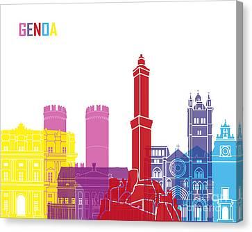 Genoa Skyline Pop Canvas Print by Pablo Romero