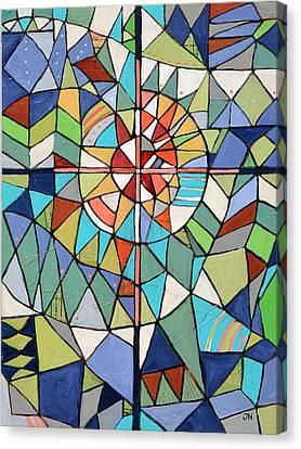 Geometric Cross Canvas Print by Jen Norton