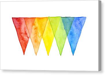 Geometric Watercolor Pattern Rainbow Triangles Canvas Print by Olga Shvartsur