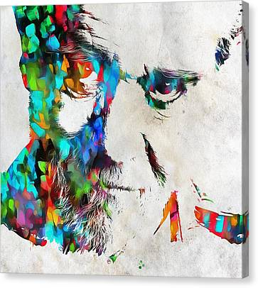George Carlin Watercolor Abstract Canvas Print by Dan Sproul
