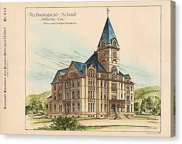 Georgia Technical School. Atlanta Georgia 1887 Canvas Print by Bruce and Morgan