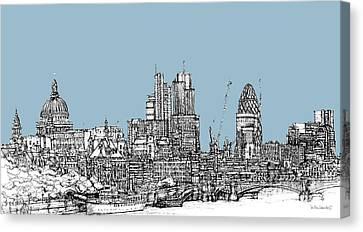 Georgian Blue Skies Over London City Skyline Canvas Print by Adendorff Design