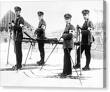 German Ambulance On Skis Canvas Print by Underwood Archives