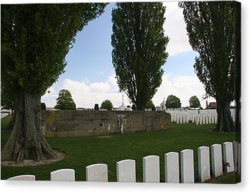 Canvas Print featuring the photograph German Bunker At Tyne Cot Cemetery by Travel Pics