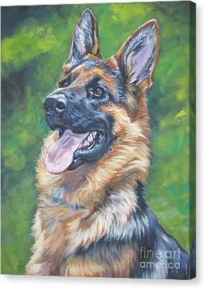 German Shepherd Head Study Canvas Print by Lee Ann Shepard