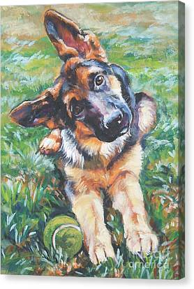 German Shepherd Pup With Ball Canvas Print by Lee Ann Shepard