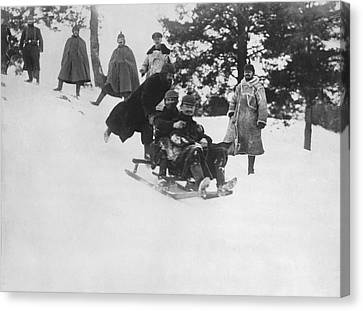 German Soldiers Sledding Canvas Print by Underwood Archives