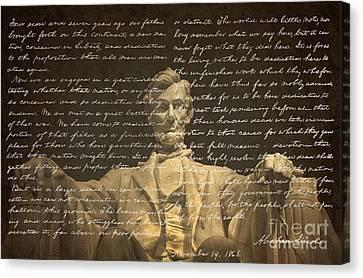 Gettysburg Address Canvas Print by Diane Diederich