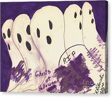 Ghosts Of Halloween Canvas Print by Elinor Rakowski
