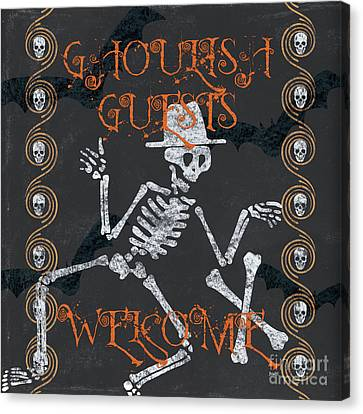 Ghoulish Guests Welcome Canvas Print by Debbie DeWitt