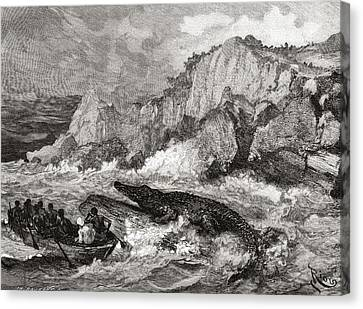 Giant Crocodile Threatens A Boat On The Canvas Print by Vintage Design Pics