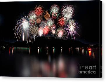 Giant Display Of Firework - Paintography Canvas Print by Dan Friend