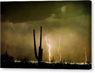 Giant Saguaro Southwest Lightning  Peace Out  Canvas Print by James BO  Insogna