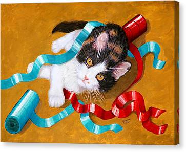 Gift Wrapped Kitty Canvas Print by Lorraine Foster