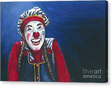 Giggles The Clown Canvas Print by Patty Vicknair