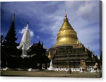 Gilded Stupa Of The Shwezigon Pagoda Canvas Print by Sami Sarkis