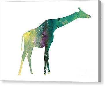 Giraffe Colorful Watercolor Painting Canvas Print by Joanna Szmerdt