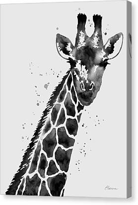 Giraffe In Black And White Canvas Print by Hailey E Herrera