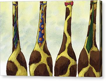 Giraffe Neckties Canvas Print by Christy Beckwith
