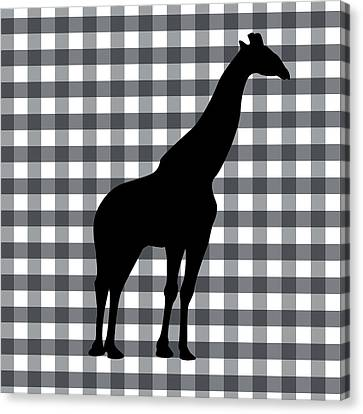 Giraffe Silhouette Canvas Print by Linda Woods