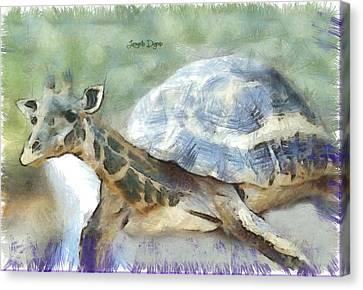 Giraturtle - Da Canvas Print by Leonardo Digenio