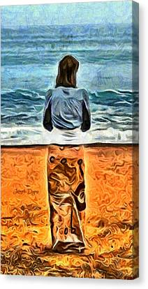 Girl At Beach - Da Canvas Print by Leonardo Digenio
